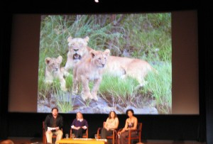 "On stage are the ""Lion Ladies"" with moderator Luke Dollar, a wildlife conservationist in Madagascar: Amy Dickman, Laly Lichtenfeld, Paula Kahumu."